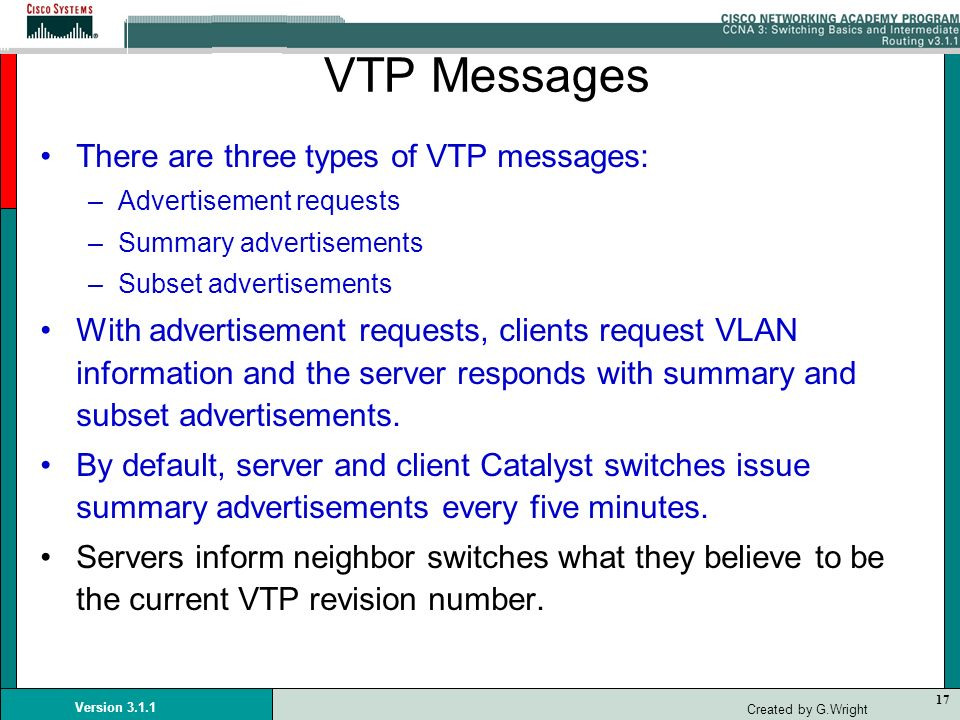 VTP Messages There are three types of VTP messages: