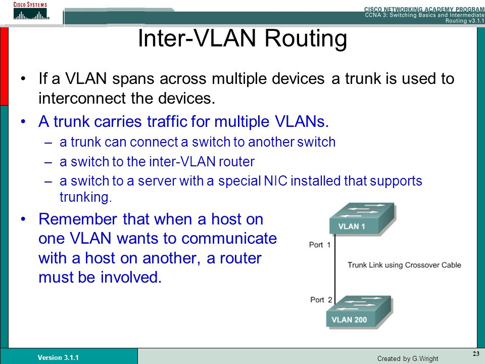 Inter-VLAN RoutingIf a VLAN spans across multiple devices a trunk is used to interconnect the devices.