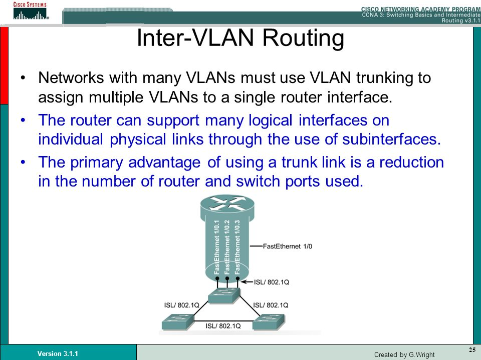 Inter-VLAN Routing Networks with many VLANs must use VLAN trunking to assign multiple VLANs to a single router interface.