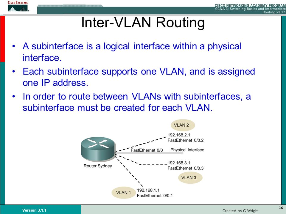 Inter-VLAN Routing A subinterface is a logical interface within a physical interface.