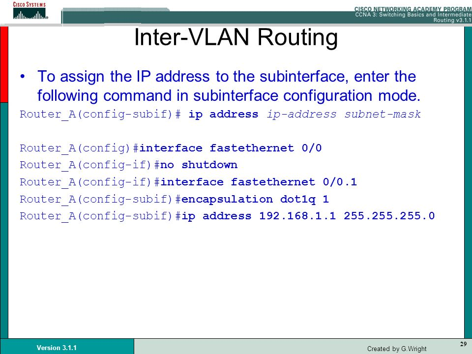 Inter-VLAN RoutingTo assign the IP address to the subinterface, enter the following command in subinterface configuration mode.
