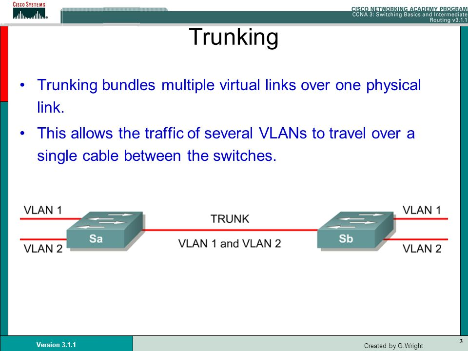 Trunking Trunking bundles multiple virtual links over one physical link.