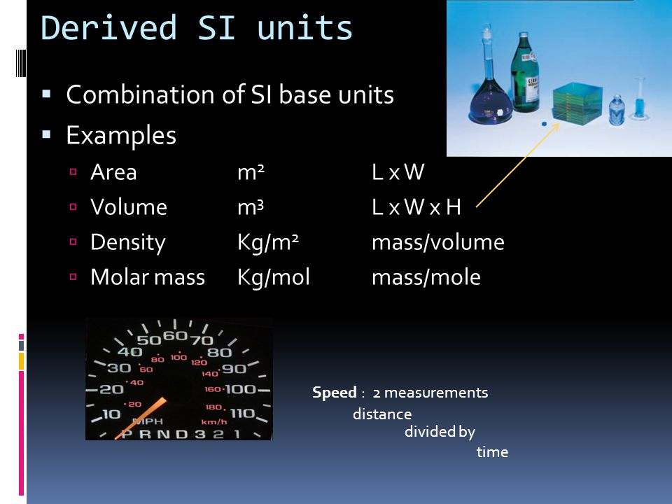 Derived SI units Combination of SI base units Examples Area m2 L x W