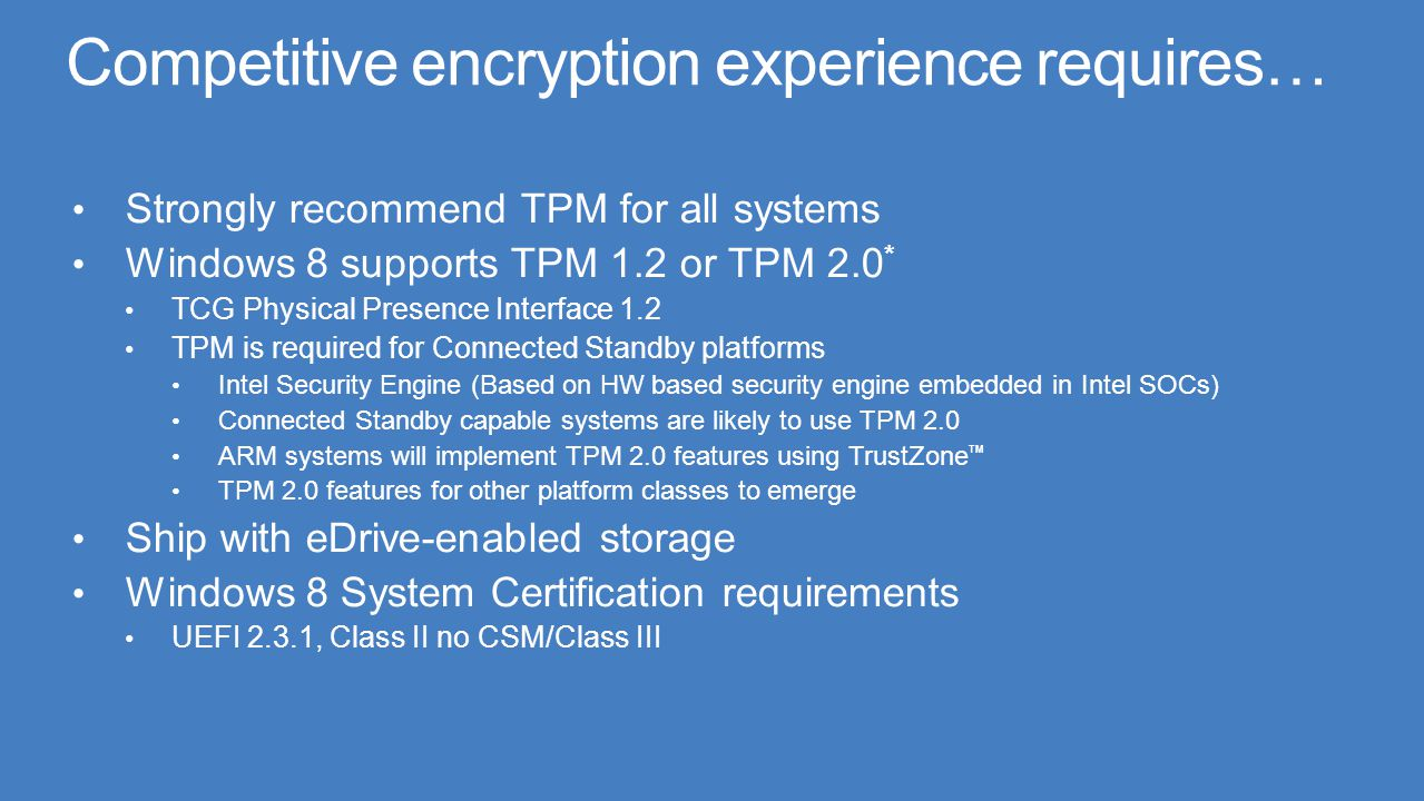 Competitive encryption experience requires…