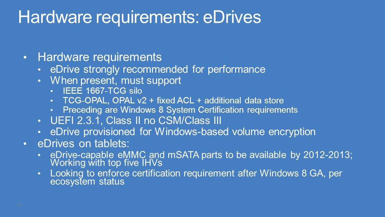 Hardware requirements: eDrives