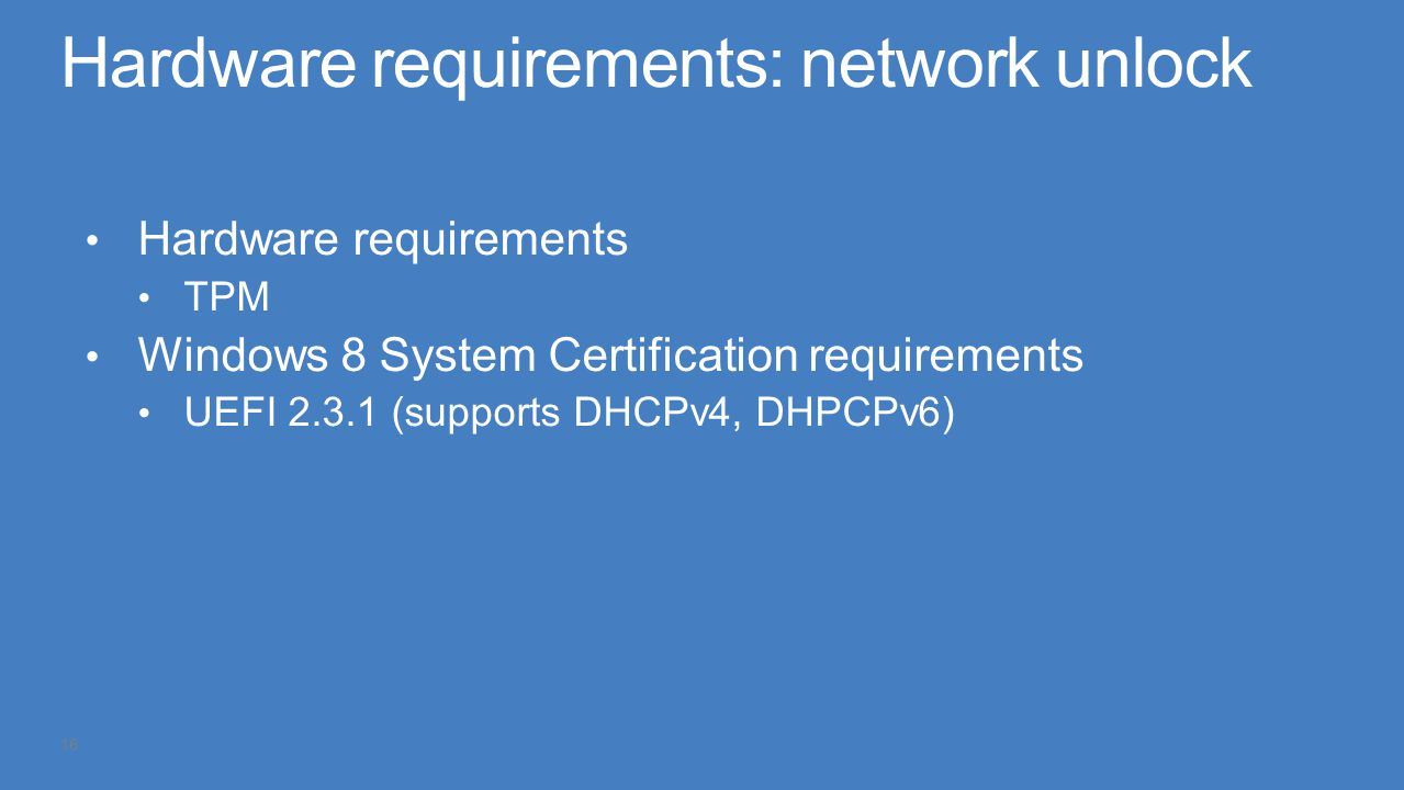 Hardware requirements: network unlock