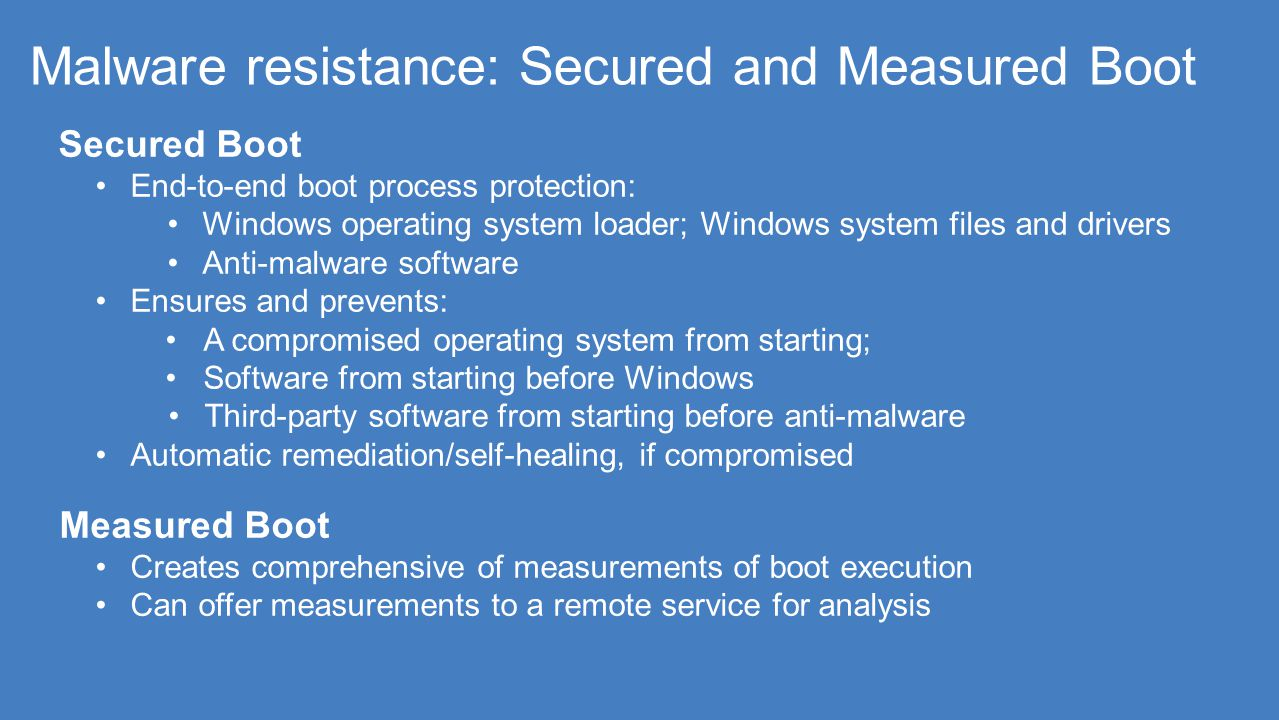 Malware resistance: Secured and Measured Boot