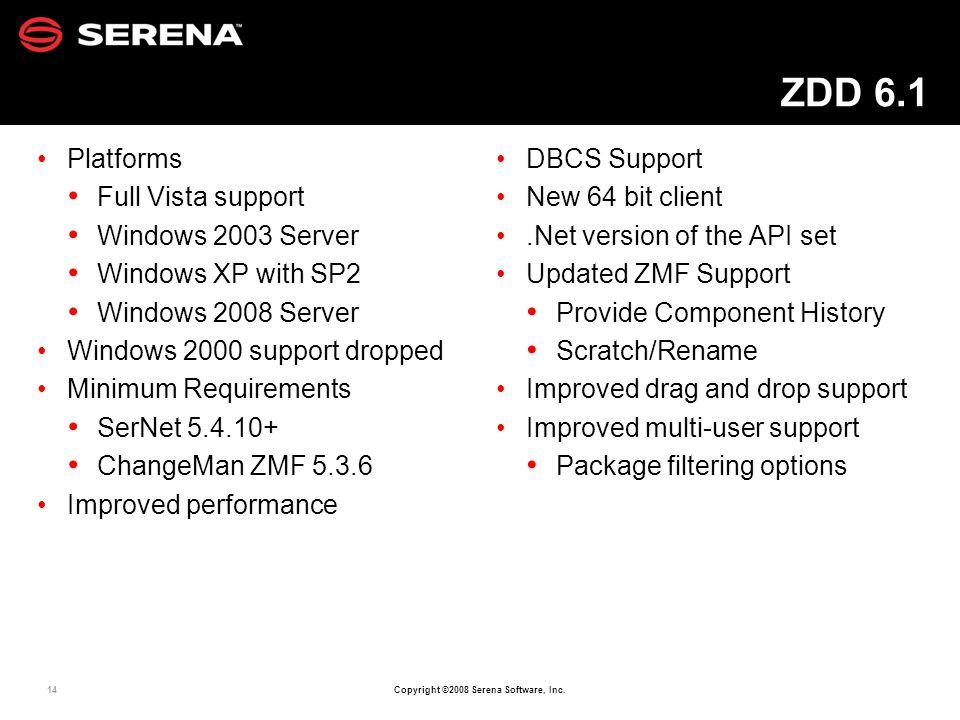ZDD 6.1 Platforms Full Vista support Windows 2003 Server