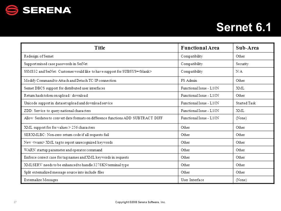 Sernet 6.1 Title Functional Area Sub-Area