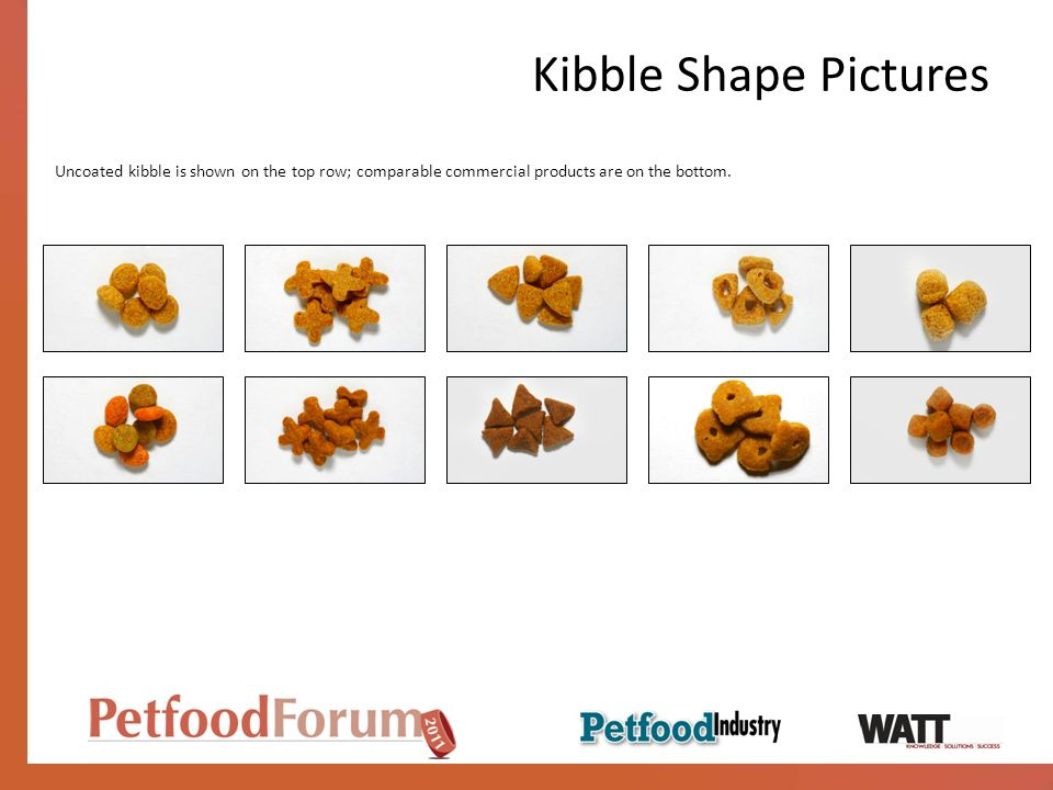 Kibble Shape Pictures Uncoated kibble is shown on the top row; comparable commercial products are on the bottom.