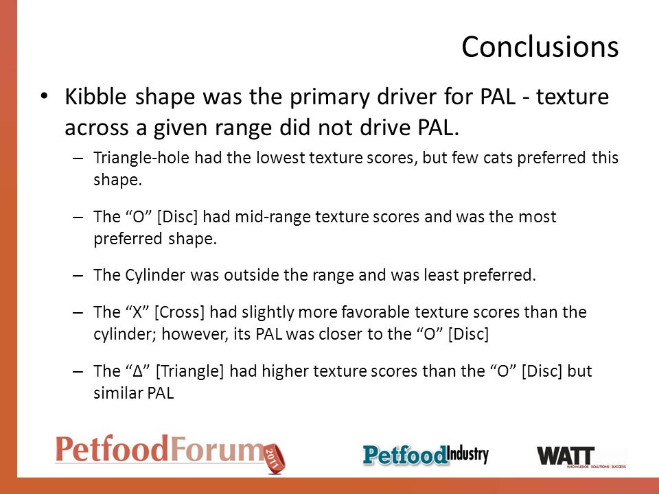 Conclusions Kibble shape was the primary driver for PAL - texture across a given range did not drive PAL.