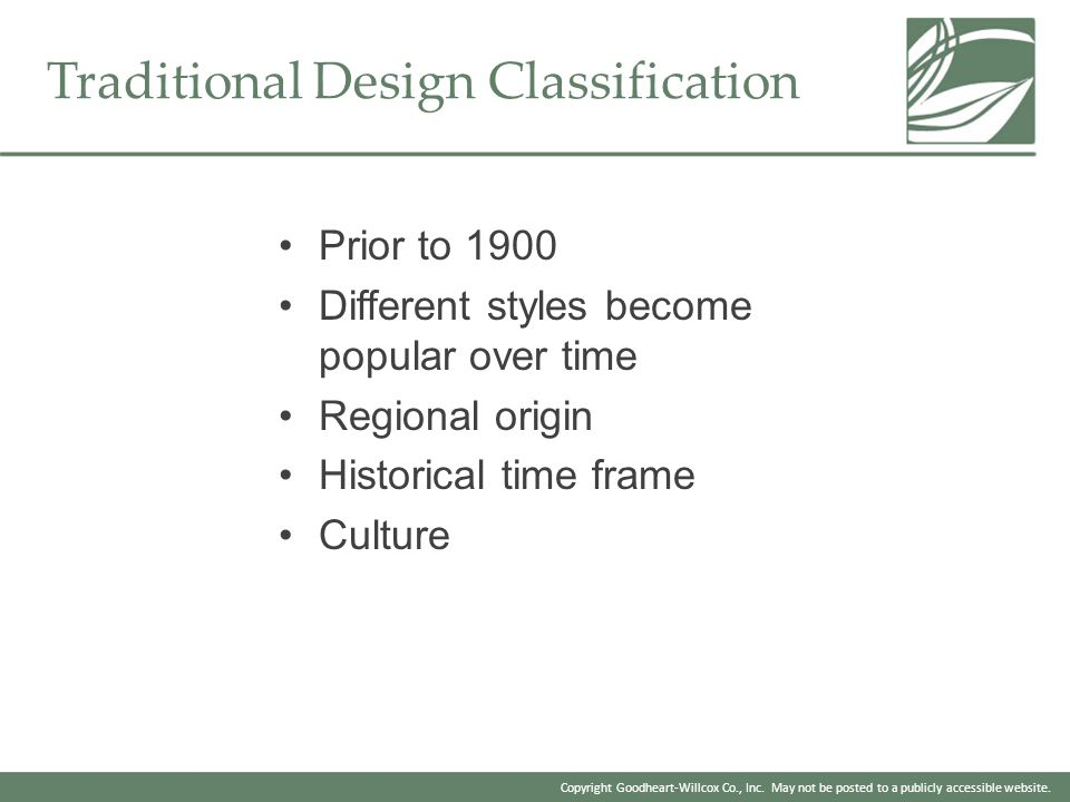 Traditional Design Classification