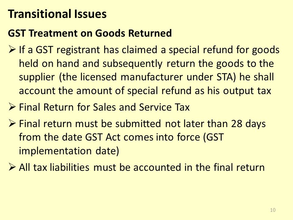 Transitional Issues GST Treatment on Goods Returned