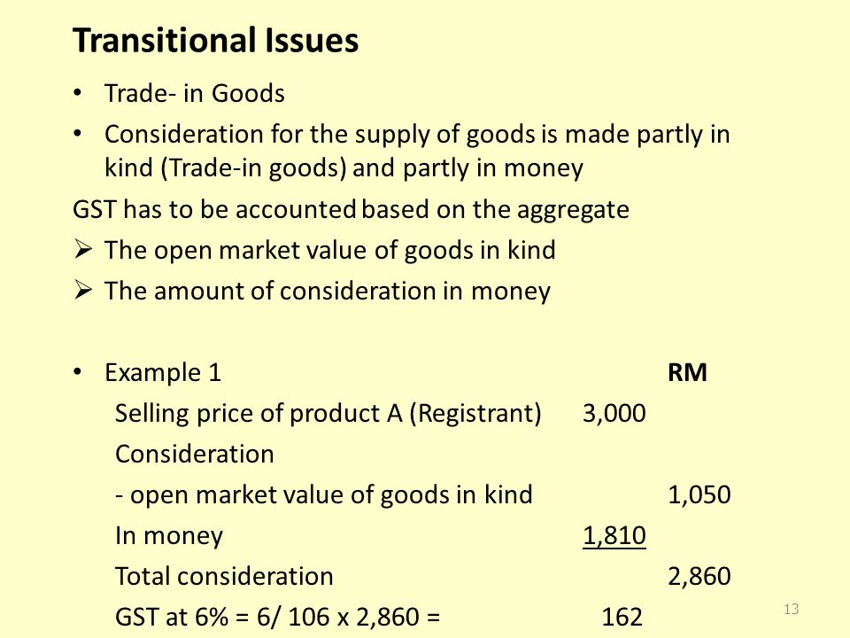Transitional Issues Trade- in Goods