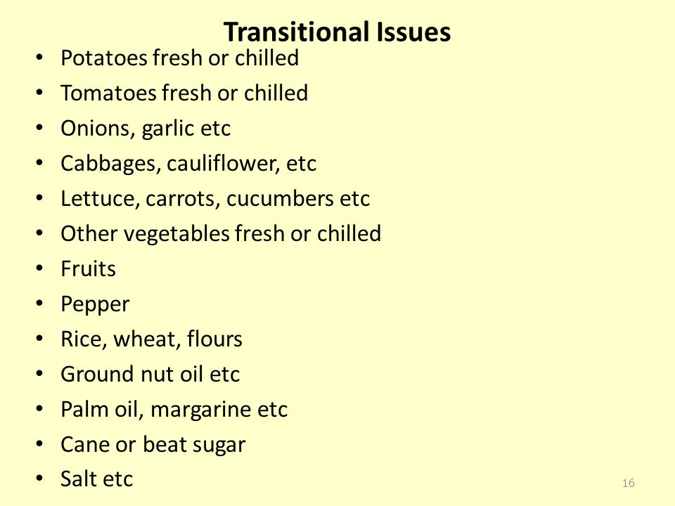 Transitional Issues Potatoes fresh or chilled