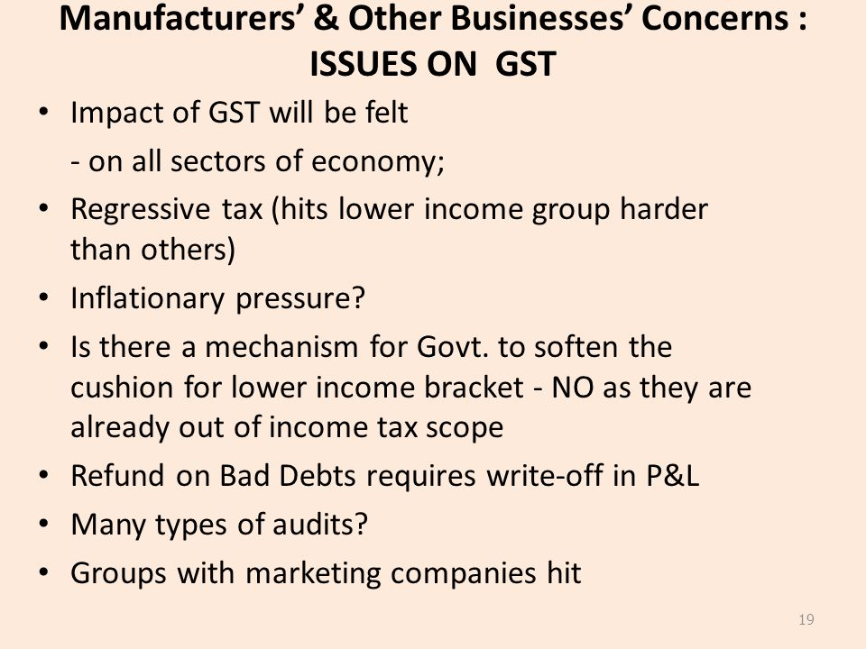 Manufacturers' & Other Businesses' Concerns : ISSUES ON GST