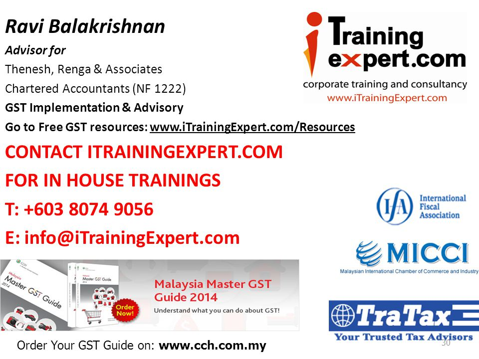 Ravi Balakrishnan CONTACT ITRAININGEXPERT.COM FOR IN HOUSE TRAININGS