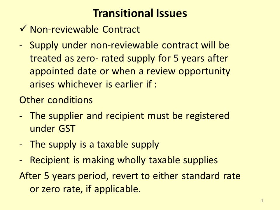Transitional Issues Non-reviewable Contract