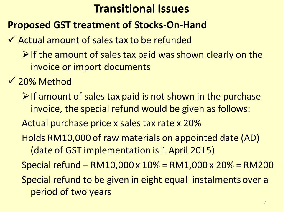 Transitional Issues Proposed GST treatment of Stocks-On-Hand