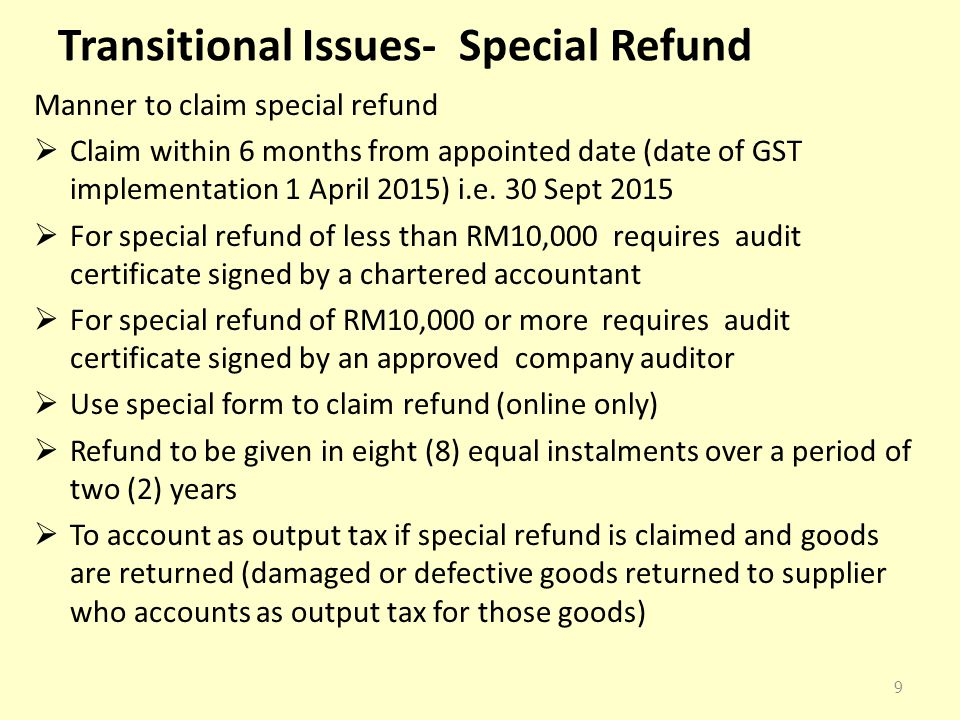 Transitional Issues- Special Refund