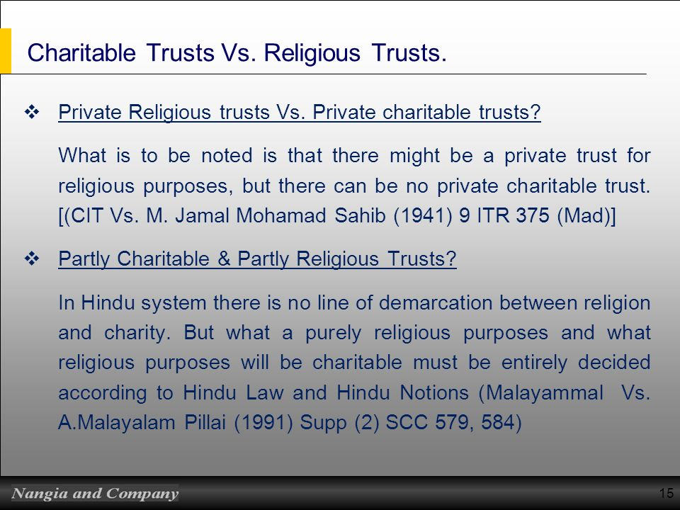 Charitable Trusts Vs. Religious Trusts.