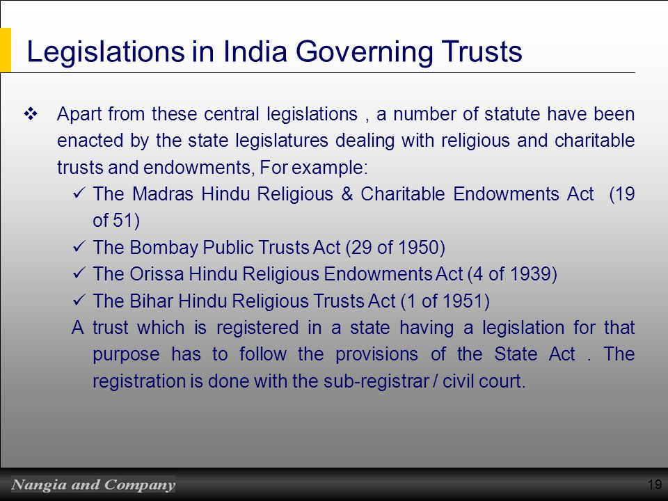Legislations in India Governing Trusts