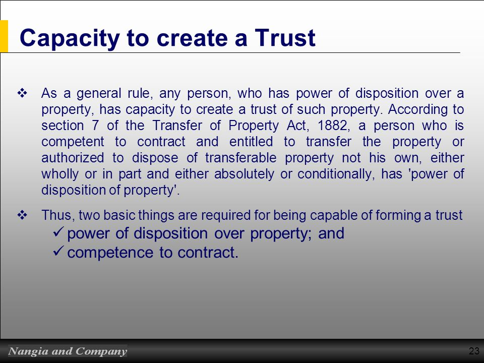 Capacity to create a Trust