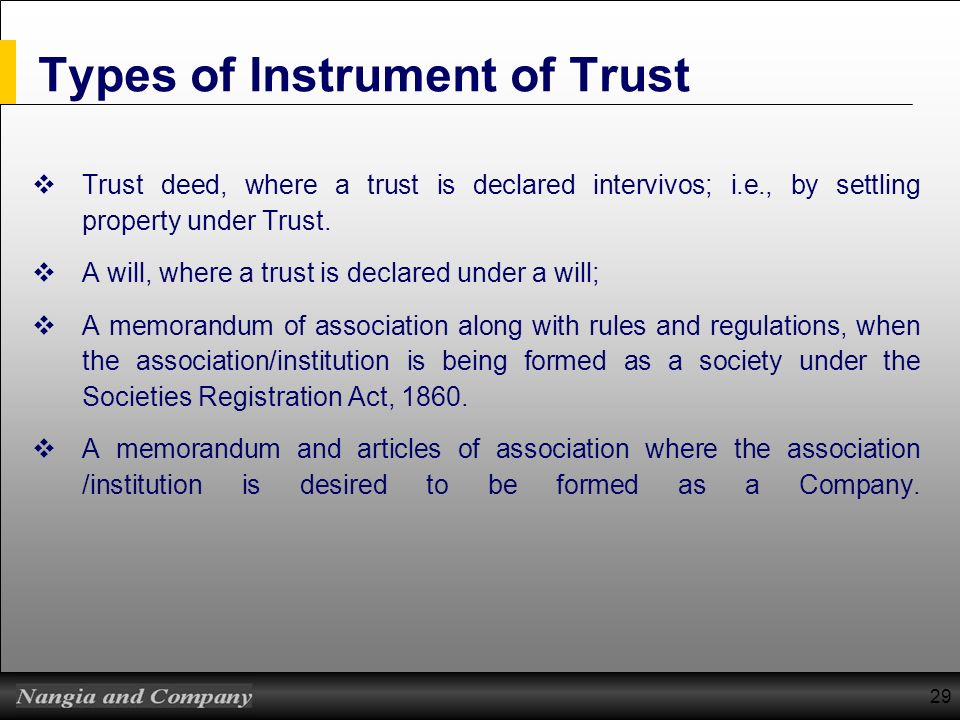 Types of Instrument of Trust