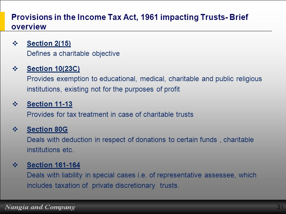Provisions in the Income Tax Act, 1961 impacting Trusts- Brief overview