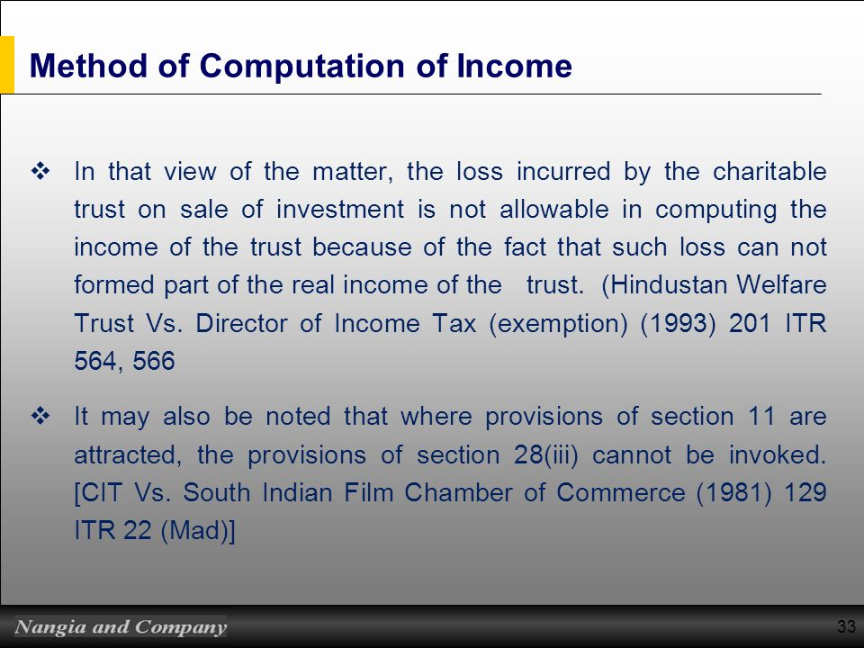 Method of Computation of Income
