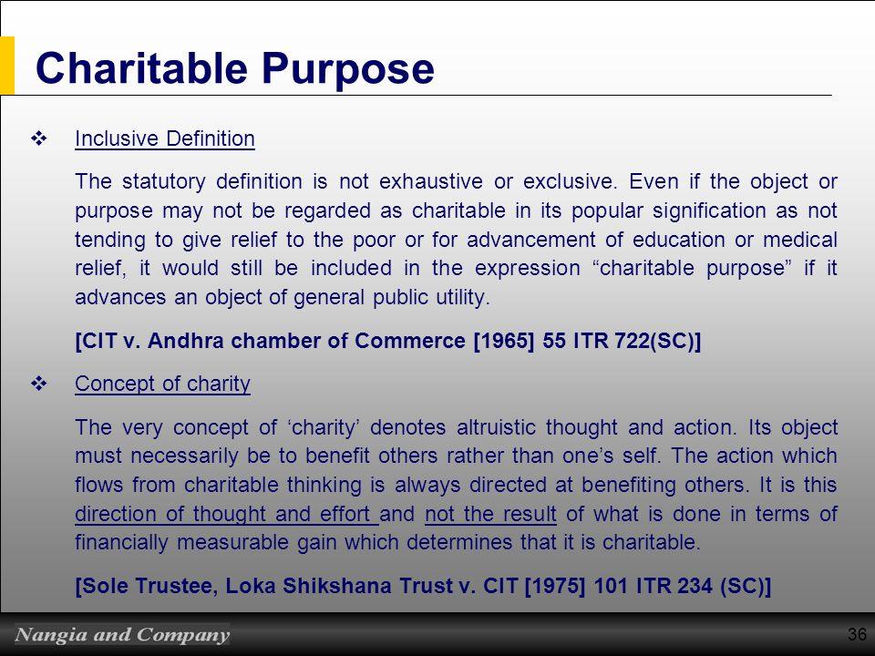 Charitable Purpose Inclusive Definition