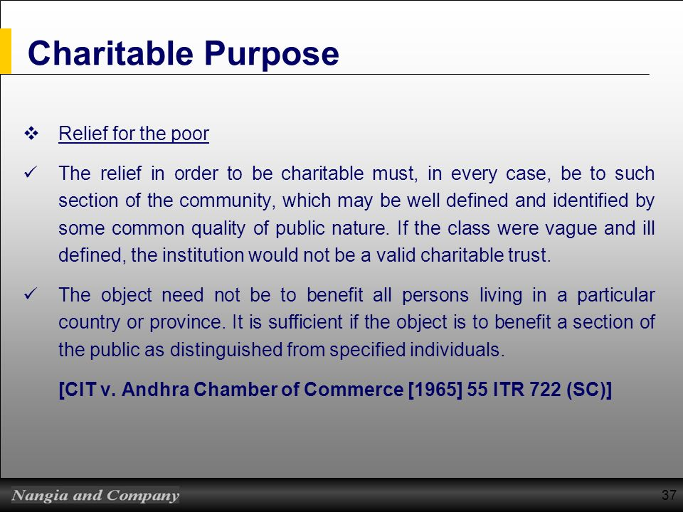 Charitable Purpose Relief for the poor