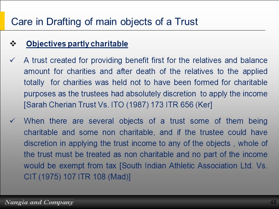 Care in Drafting of main objects of a Trust