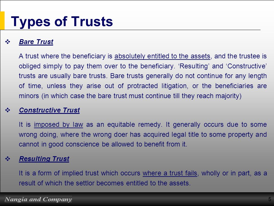 Types of Trusts Bare Trust