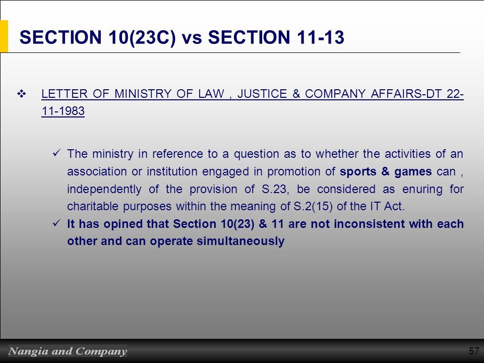 SECTION 10(23C) vs SECTION 11-13