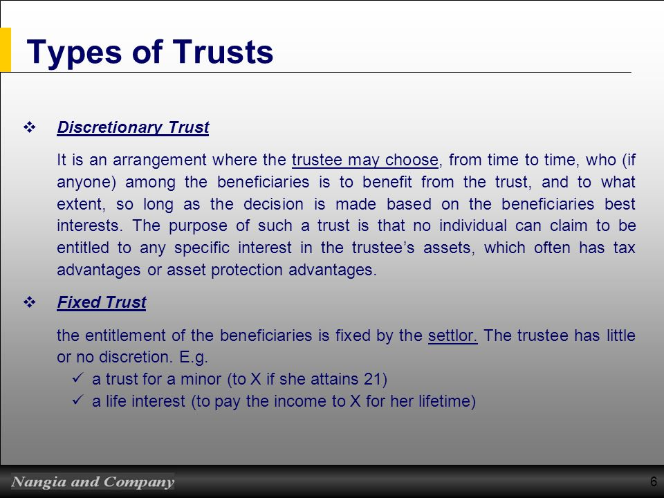 Types of Trusts Discretionary Trust