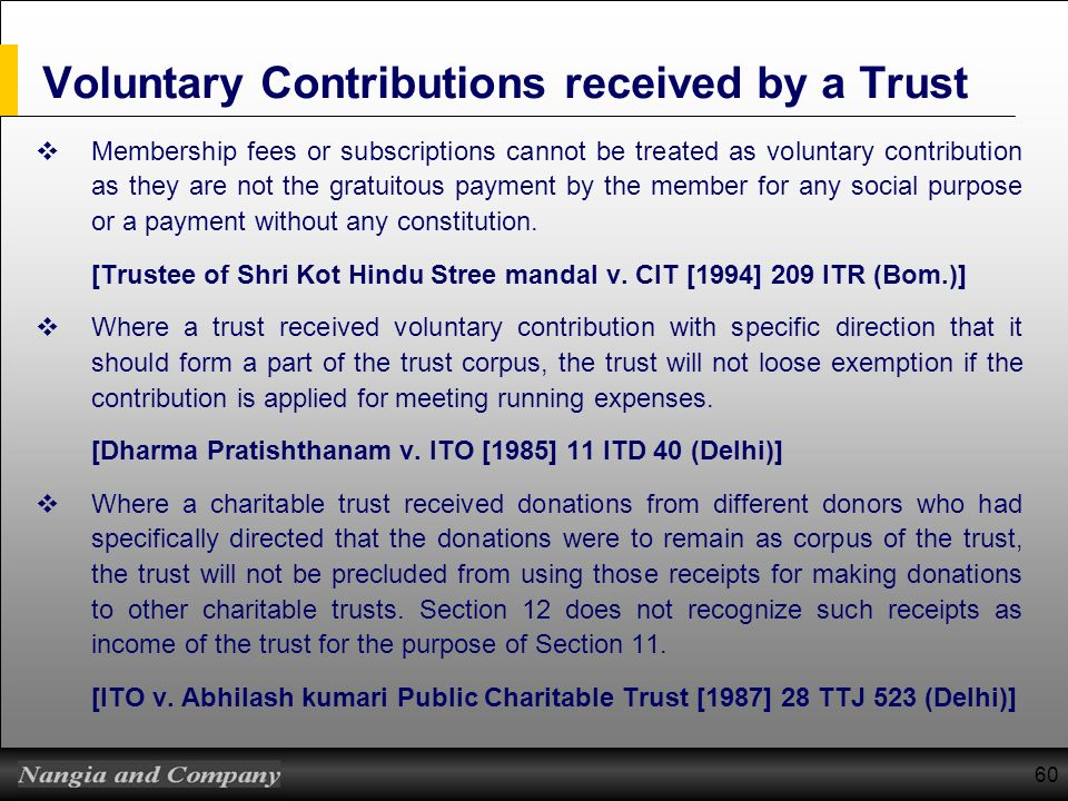Voluntary Contributions received by a Trust