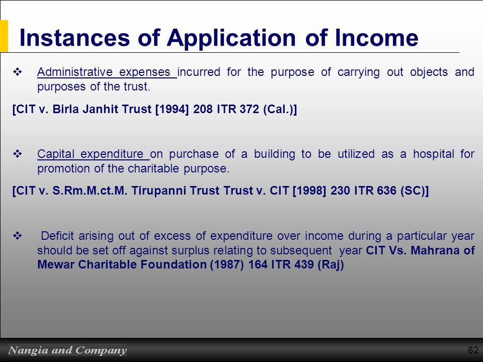 Instances of Application of Income
