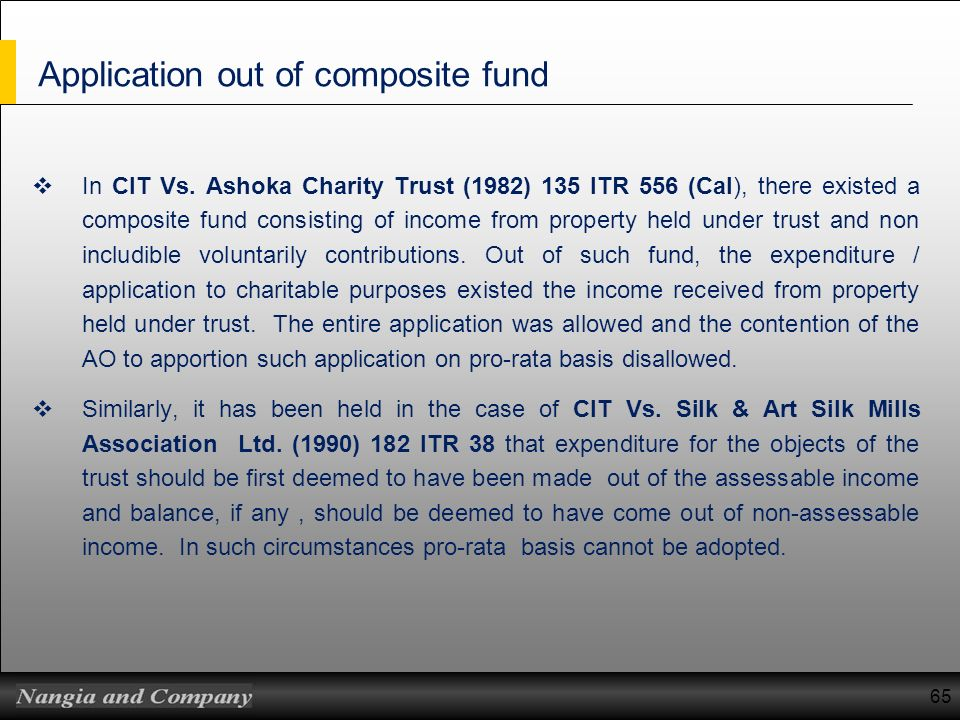 Application out of composite fund