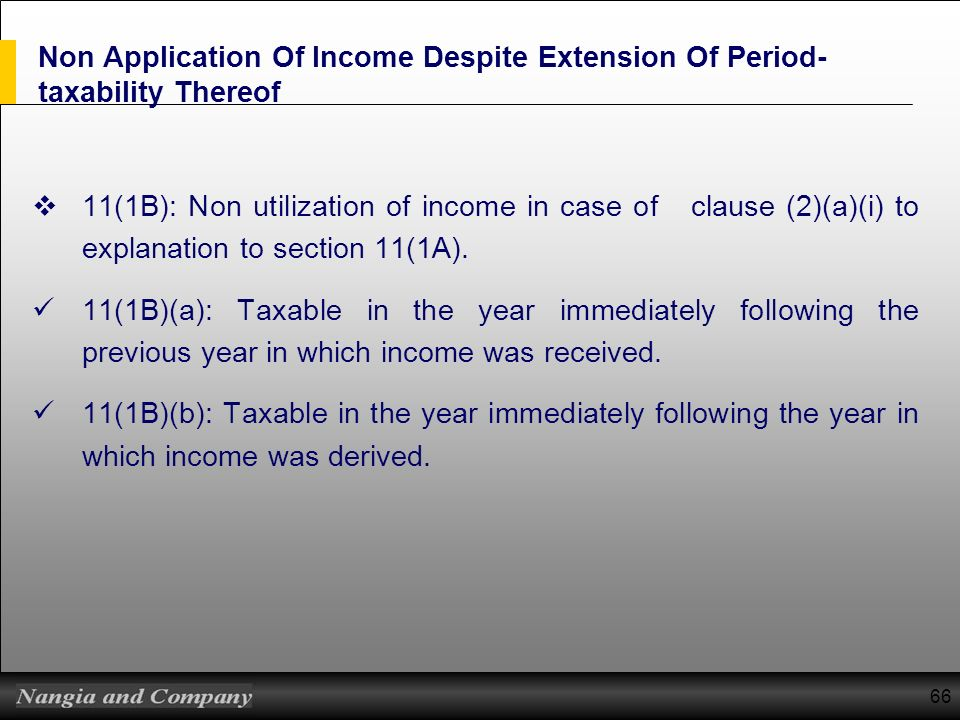 Non Application Of Income Despite Extension Of Period-taxability Thereof