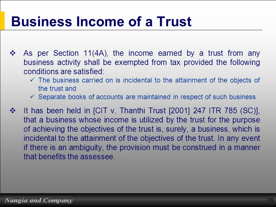 Business Income of a Trust