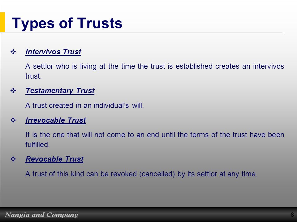 Types of Trusts Intervivos Trust