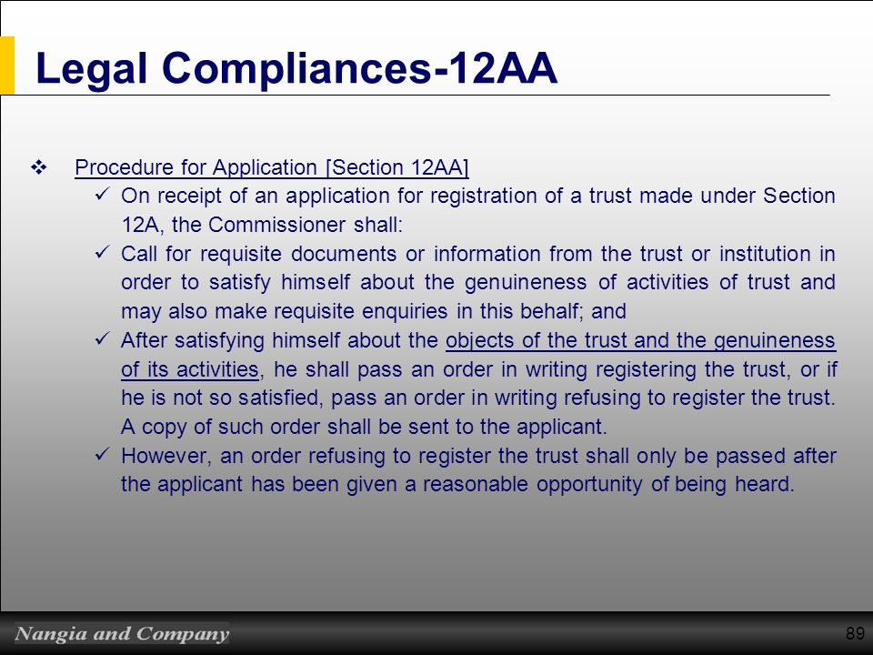 Legal Compliances-12AA Procedure for Application [Section 12AA]