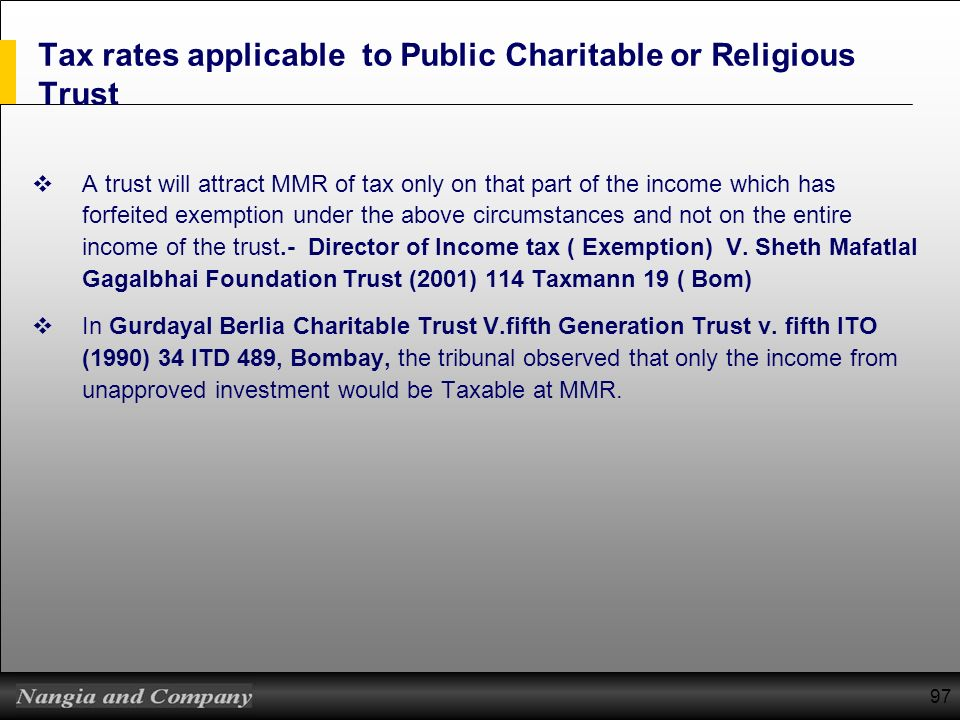 Tax rates applicable to Public Charitable or Religious Trust