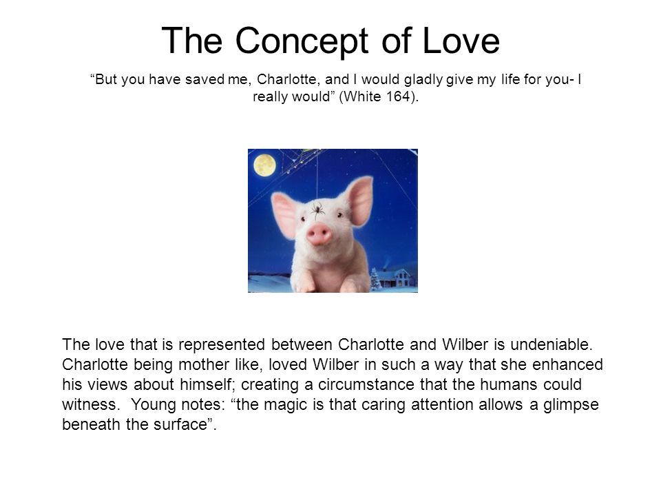 The Concept of Love But you have saved me, Charlotte, and I would gladly give my life for you- I really would (White 164).