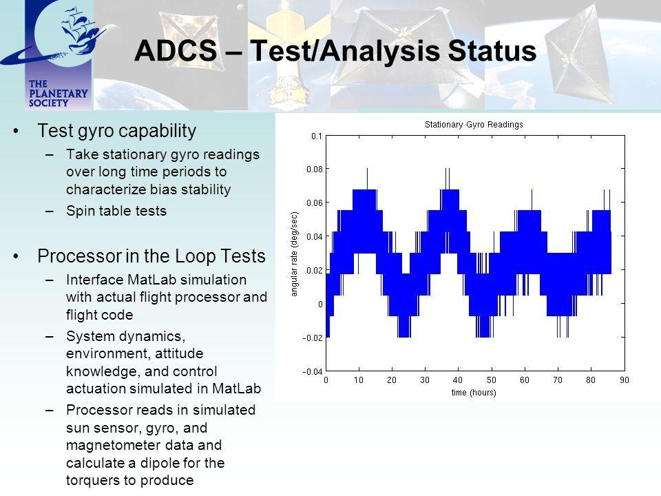 ADCS – Test/Analysis Status