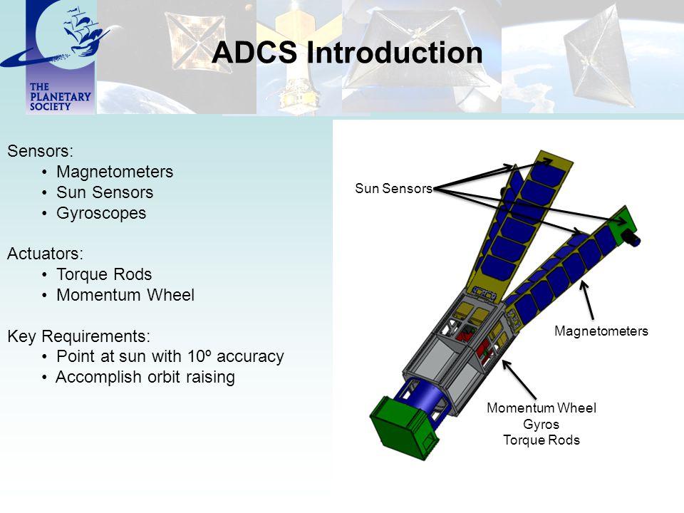 ADCS Introduction Sensors: Magnetometers Sun Sensors Gyroscopes