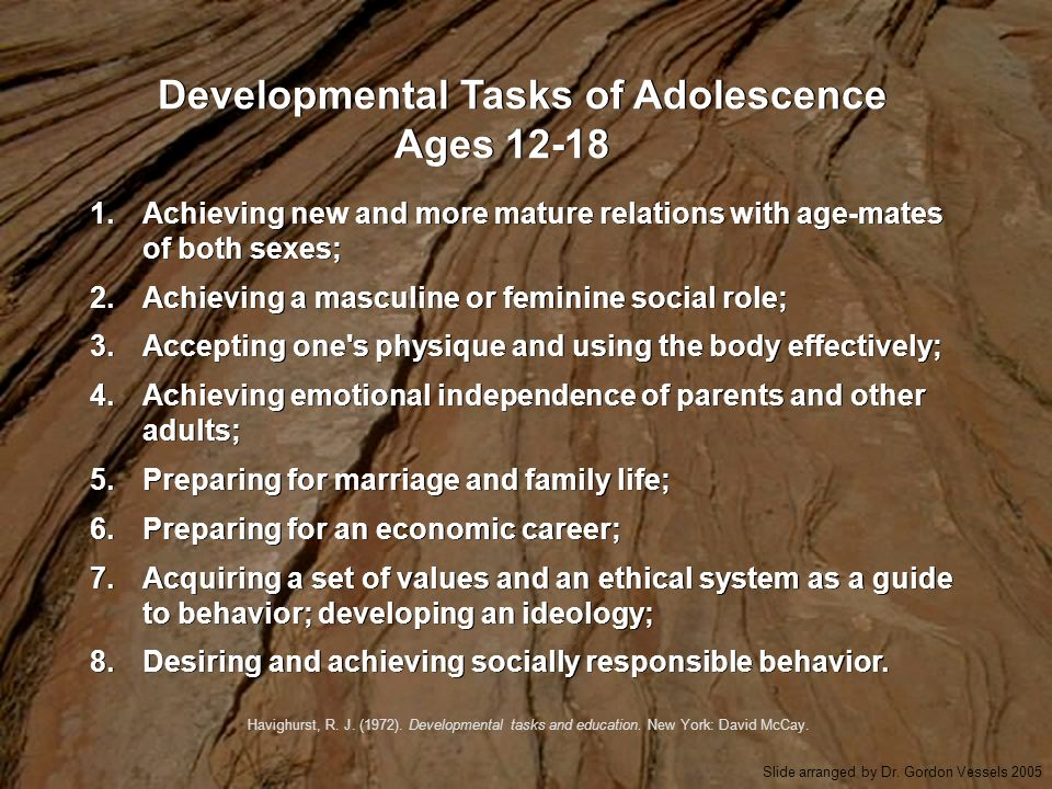 Developmental Tasks of Adolescence Ages 12-18