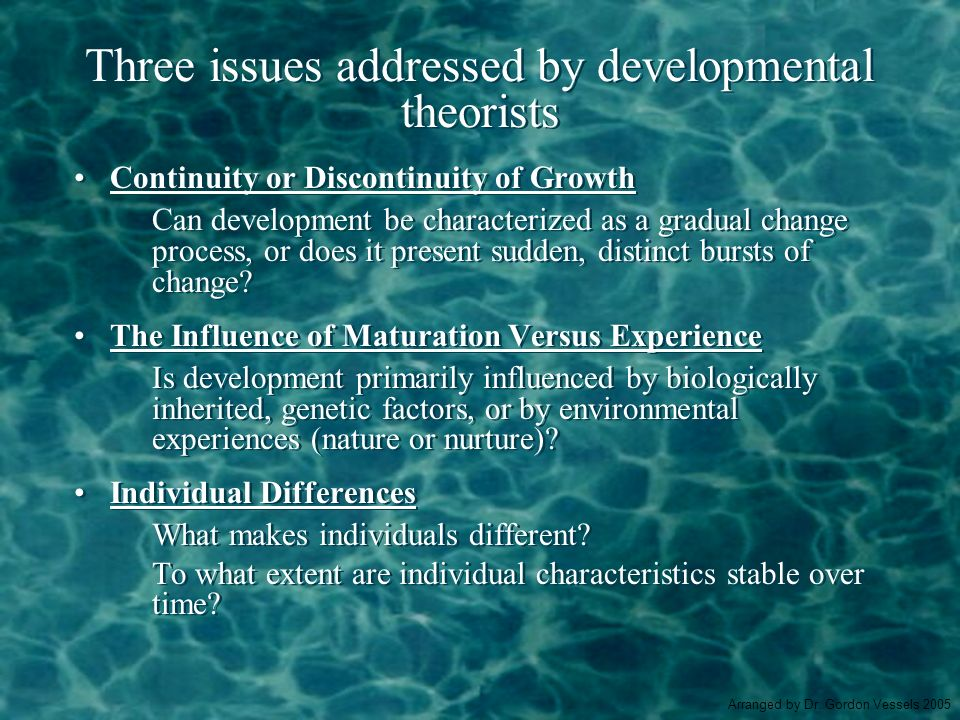 Three issues addressed by developmental theorists