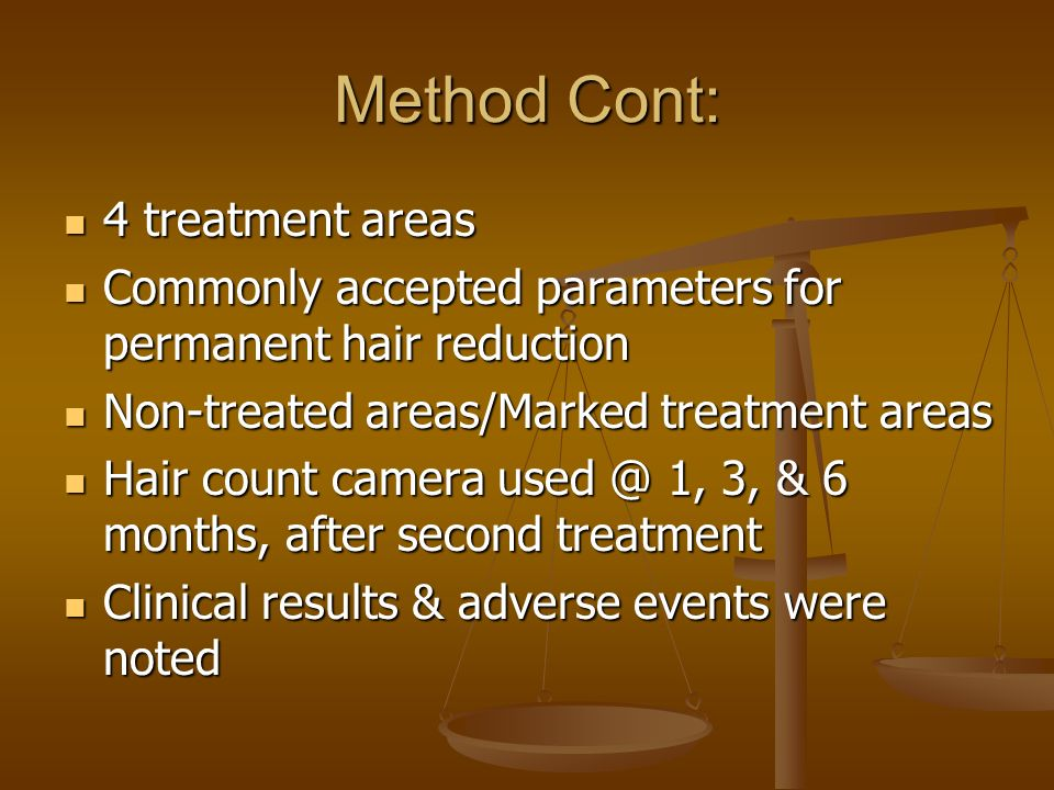 Method Cont: 4 treatment areas